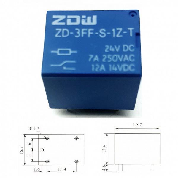 Rele 24V 10A - 1 Contato Reversível