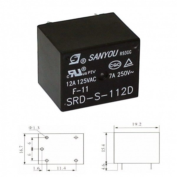 Rele 12V 10A (250V) / 15A (120V) - 1 Contato Reversível