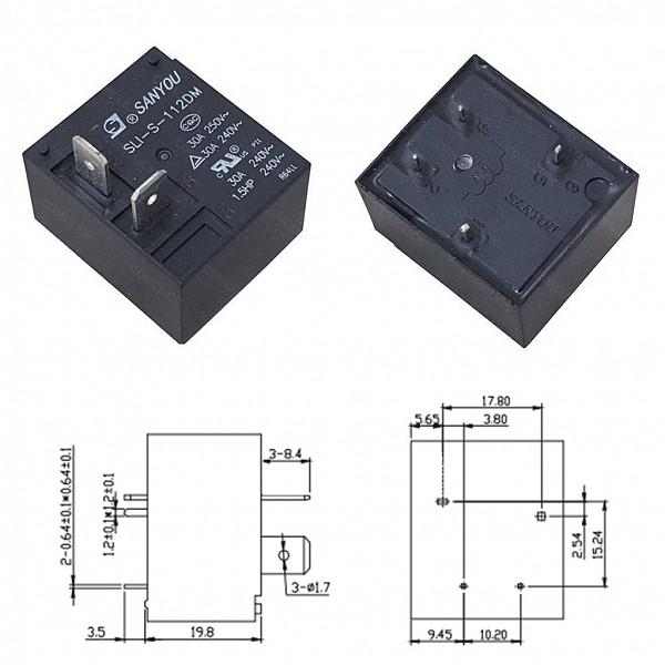 Rele 12V 30A para Ar-Condicionado (SLI-S-112DM)
