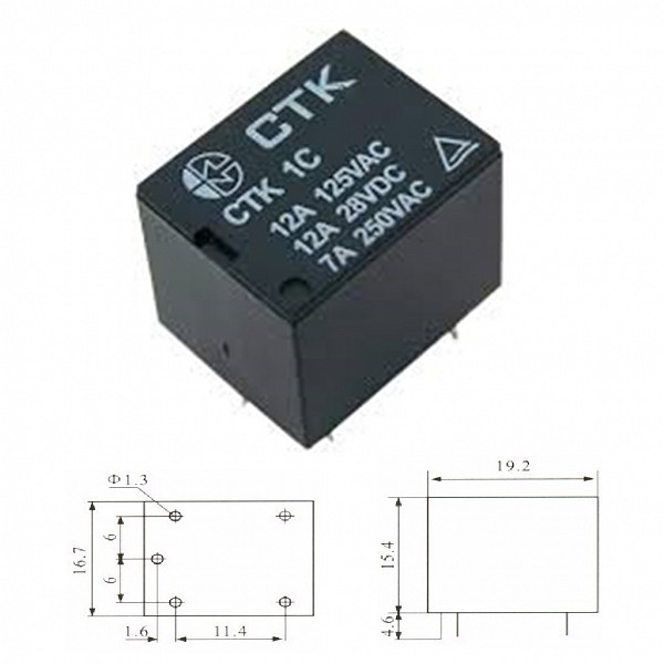 Rele 48V 12A - 1 Contato Reversível