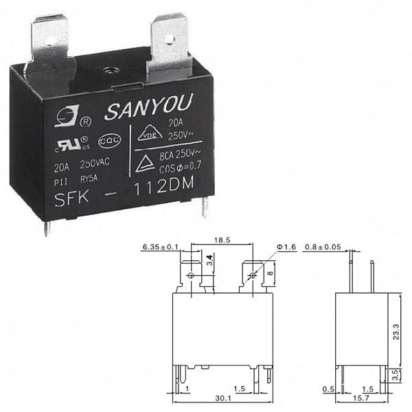 Rele 12V 20A para Ar-Condicionado (SFK-112DM)