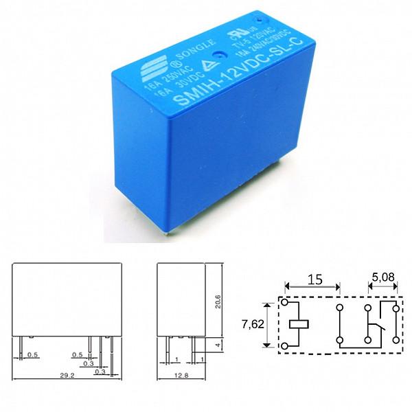 Rele 12V 16A - 2 Contatos Reversíveis - 8 Pinos